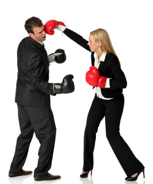 fighting man & woman