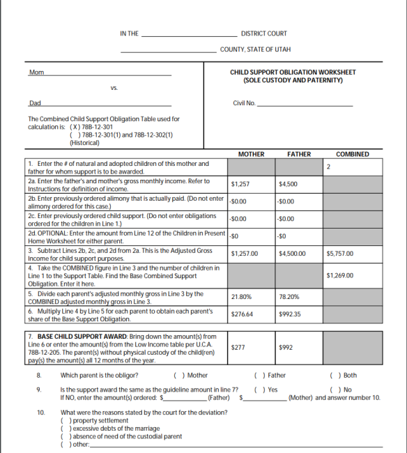Child Support How It S Calculated Utah Specific Pta Mom
